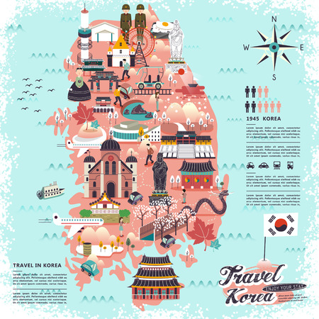 여행: 관광 명소 디자인 멋진 한국 여행지도 일러스트