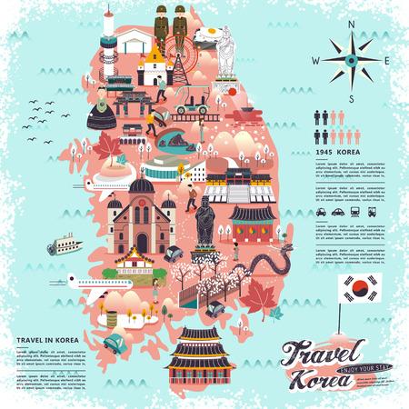 viajes: maravilloso mapa de la Corea del Sur con un diseño atracciones
