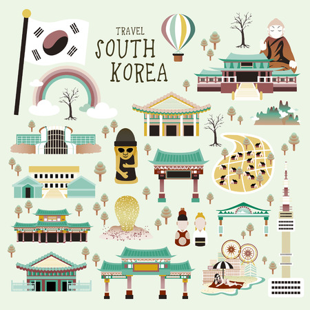 korea: lovely South Korea attractions collection in flat style Illustration