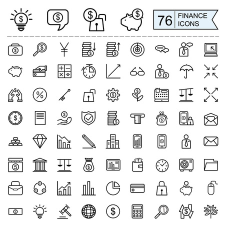 finance icons collection in thin line style over white background