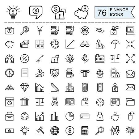 Colección de iconos de finanzas en el estilo de línea delgada sobre fondo blanco Foto de archivo - 47450016