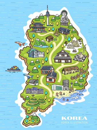 lovely Korea travel concept map in hand drawn style