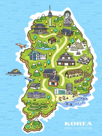 korea: lovely Korea travel concept map in hand drawn style