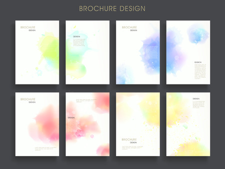 lovely brochure template design set with dreamy watercolor elements  イラスト・ベクター素材