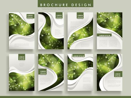 sparkling: gorgeous brochure template design set with sparkling polygon elements