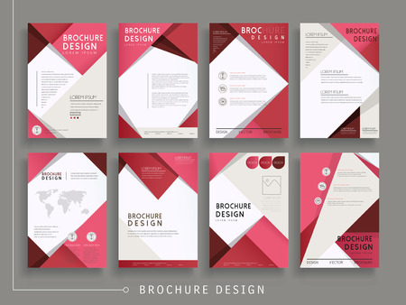 赤で幾何学的な要素からなる集合のモダンなパンフレットのテンプレート デザイン