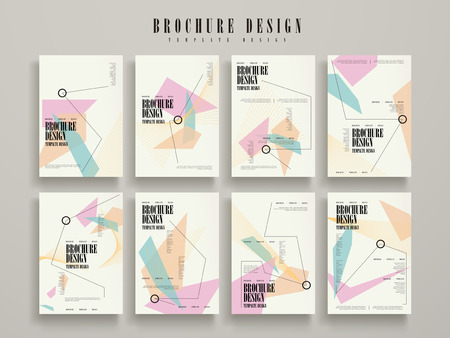 attractive brochure template design set with geometric elements  イラスト・ベクター素材