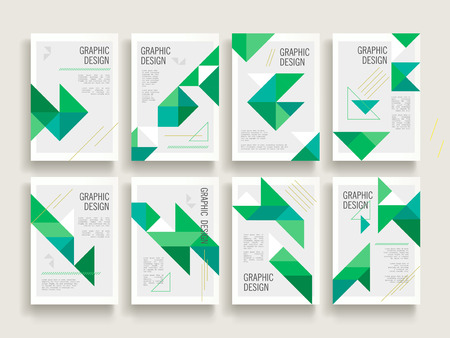 modern brochure template design set with triangle elements in green