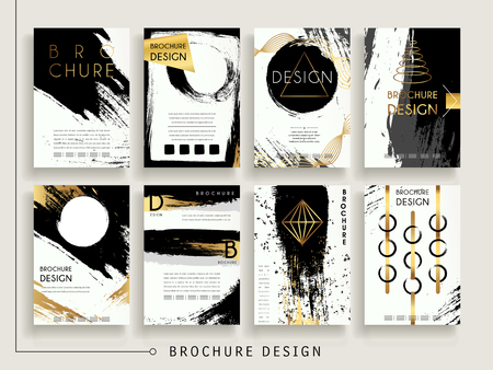 attractive brochure template design set with brush stroke and geometric elements Vettoriali