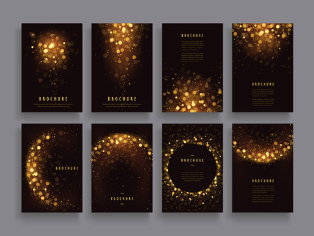 gorgeous brochure template design set with glitter paillette elements 向量圖像