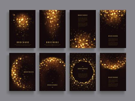 gorgeous brochure template design set with glitter paillette elements Vectores