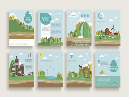 granja caricatura: diseño encantador plantilla de folleto conjunto con paisaje de la naturaleza de fondo en diseño plano Vectores