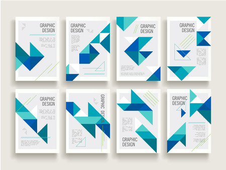 layout design template: modern brochure template design set with triangle elements in blue