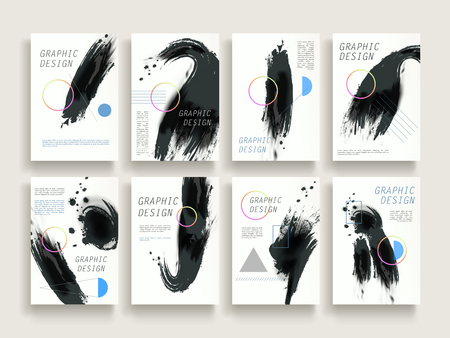 attractive brochure template design set with brush stroke and geometric elements 向量圖像