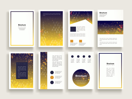 advertisements: trendy brochure template design set with glitter and triangle elements
