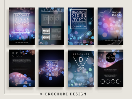 gorgeous brochure template design set with sparkling blurred background 向量圖像