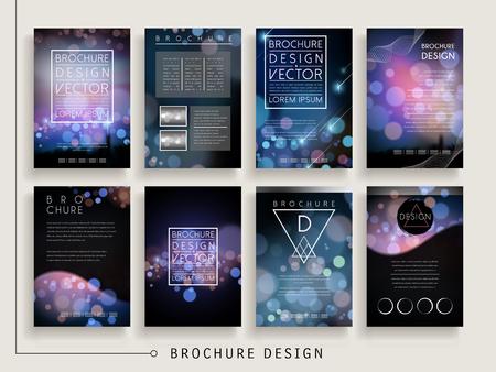 ad: gorgeous brochure template design set with sparkling blurred background Illustration