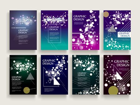 Prachtige brochure sjabloon ontwerp set met sprankelende vervagen achtergrond en geometrische elementen Stock Illustratie