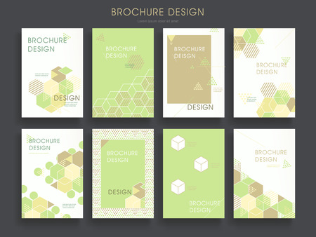 advertisements: modern brochure template design set with hexagon elements in green Illustration