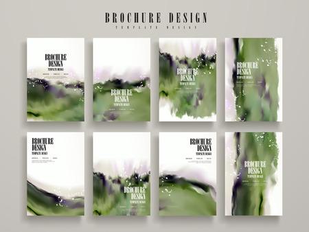 drop water: modern brochure template design set with green blurred ink stroke elements