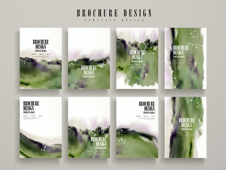 modern brochure template design set with green blurred ink stroke elements