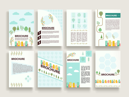 promote: lovely brochure template design set with downtown scenery
