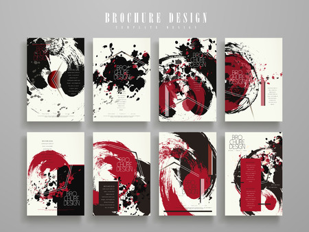 creative brochure template design set with ink stroke and geomtric elements