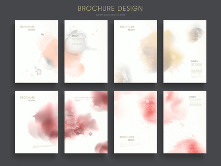 dreamy: lovely brochure template design set with dreamy watercolor elements Illustration