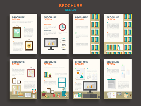 routine: adorable brochure template design set with office routine elements