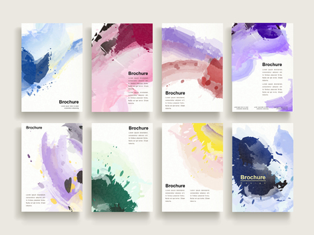 graceful brochure template design set with colorful brush stoke elements