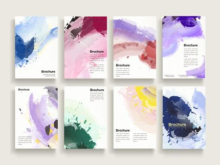sierlijke brochure template design set met kleurrijke borstel stookt elementen