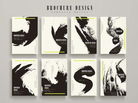 インク ストロークの要素からなる集合の魅力的なパンフレットのテンプレート デザイン