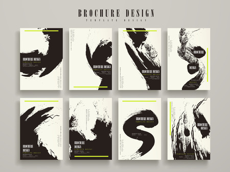 attractive brochure template design set with ink stroke elements Çizim