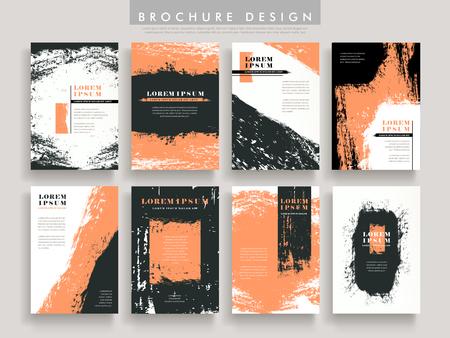 creative brochure template design set with brush stroke elements