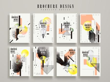 attractive brochure template design set with geometric elements Stock Illustratie