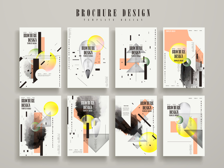 attractive brochure template design set with geometric elements Ilustracja