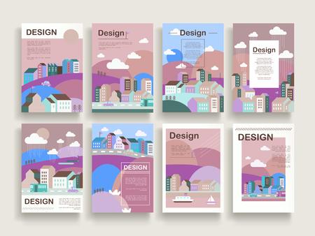 フラットなデザインのダウンタウンの風景に設定の愛らしいパンフレットのテンプレート デザイン