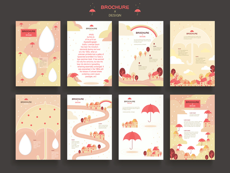 lovely brochure template design set with umbrella elements