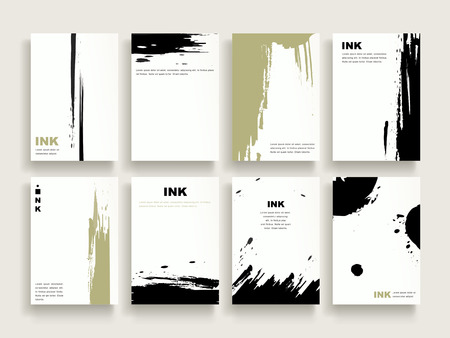 elegant brochure template design set with brush stoke elements