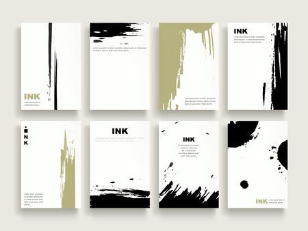 elegante brochure template design set met borstel stoke elementen Stock Illustratie