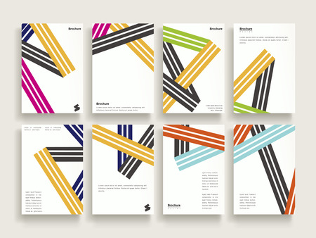 trendy brochure template design set with colorful stripe elements