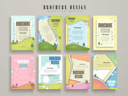 rain drop: lovely brochure template design set with nature scenery Illustration