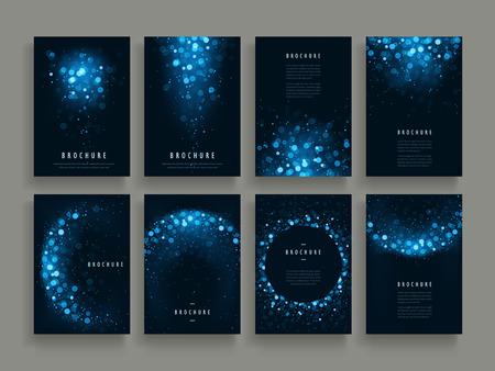 gorgeous brochure template design set with glitter paillette elements 일러스트