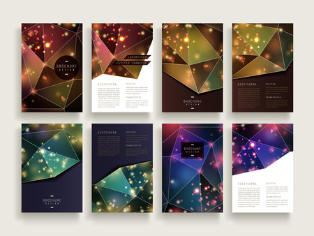 gorgeous brochure template design set with sparkling polygon elements