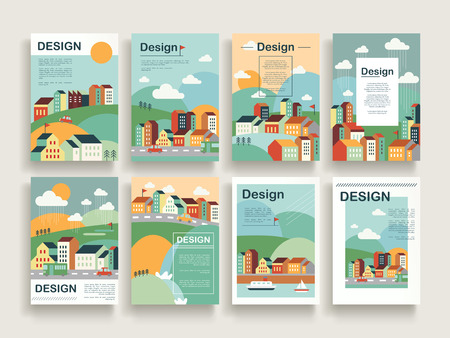 schattig brochure template design set met downtown landschap in plat design