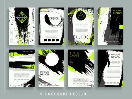 ブラシ ストロークと幾何学的な要素を持つ魅力的なパンフレットのテンプレート デザインを設定