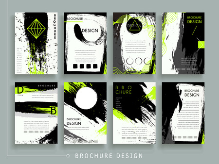 attractive brochure template design set with brush stroke and geometric elements Ilustração