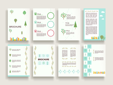 lovely brochure template design set with downtown scenery