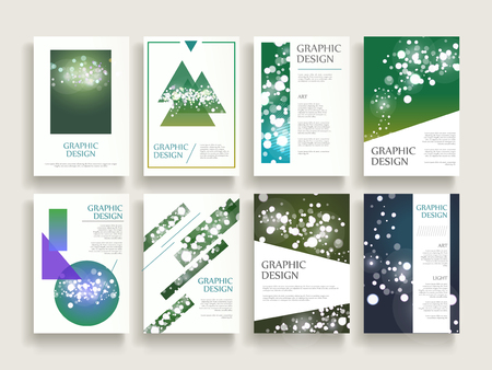 gorgeous: gorgeous brochure template design set with sparkling blurred background and geometric elements Illustration