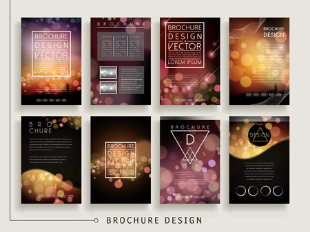 gorgeous brochure template design set with sparkling blurred background
